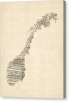 Old Sheet Music Map Of Norway Canvas Print by Michael Tompsett