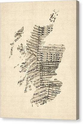 Old Sheet Music Map Of Scotland Canvas Print by Michael Tompsett
