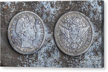 Old Silver Quarter Coins  Canvas Print by Randy Steele