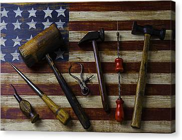 Old Tools On Wooden Flag Canvas Print by Garry Gay