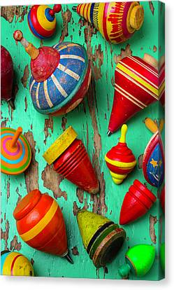 Old Toy Tops Canvas Print by Garry Gay