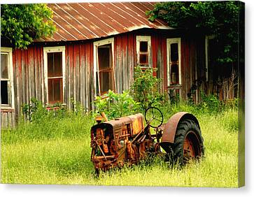 Old Tractor Canvas Print by Iris Greenwell