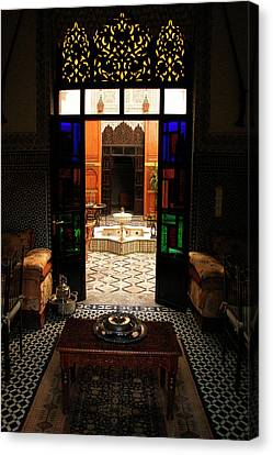 Old Traditional Riad In Fez Canvas Print by Ralph A  Ledergerber-Photography