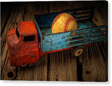 Old Truck With Basball Canvas Print by Garry Gay