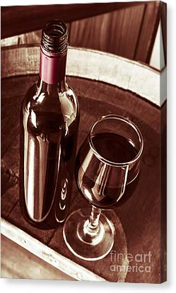 Old Wine Bottle And Glass In Rustic Wine Cellar Canvas Print by Jorgo Photography - Wall Art Gallery