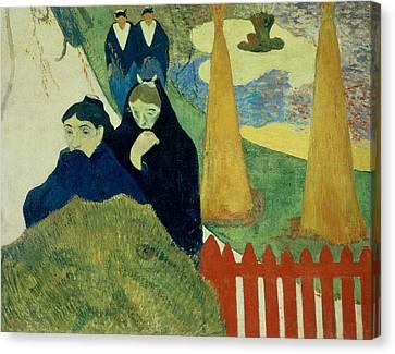 Old Women Of Arles Canvas Print by Paul Gauguin