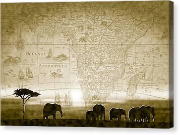 Old World Africa Antique Sunset Canvas Print by Dana Bennett