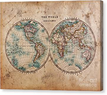 Old World Map In Hemispheres Canvas Print by Richard Thomas