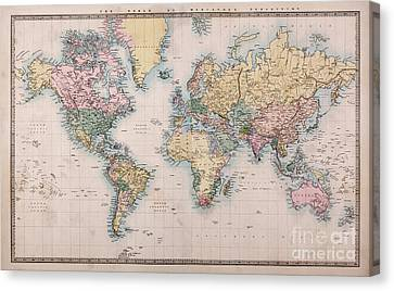 Old World Map On Mercators Projection Canvas Print by Richard Thomas