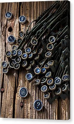 Old Worn Typewriter Keys Canvas Print by Garry Gay