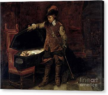 Oliver Cromwell Opening The Coffin Of Charles I  Canvas Print by Hippolyte Delaroche