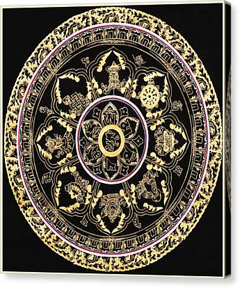Om Mandala With Astamandala Canvas Print by Lanjee Chee