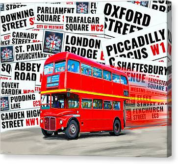 On A Bus For London Canvas Print by Mark E Tisdale