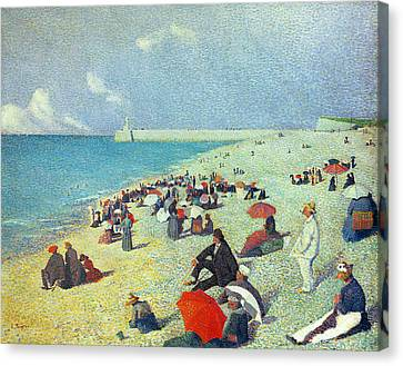 On The Beach Canvas Print by Leon Pourtau