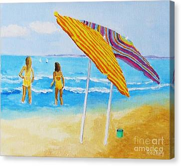 Canvas Print featuring the painting On The Beach by Rodney Campbell