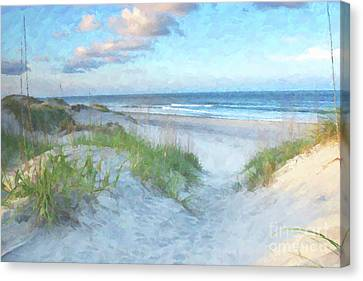 On The Beach Watercolor Canvas Print by Randy Steele