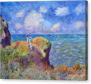 On The Bluff At Pourville - Sur Les Traces De Monet Canvas Print by David Lloyd Glover