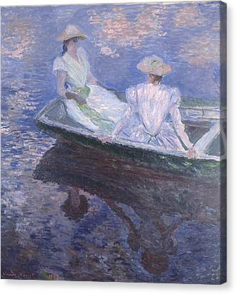 On The Boat 1887 Canvas Print by Claude Monet