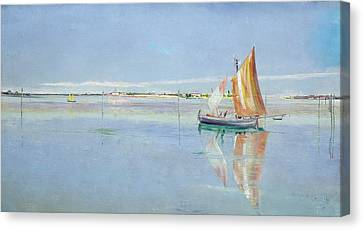 On The Lagoon Canvas Print by John William Inchbold