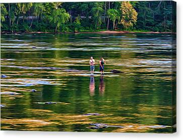 On The New River, Literally - Paint Canvas Print by Steve Harrington