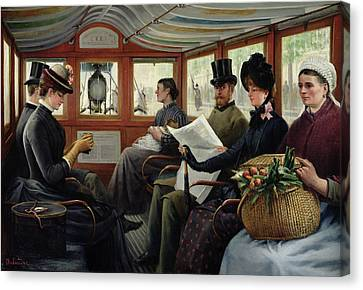 On The Omnibus Canvas Print by Maurice Delondre
