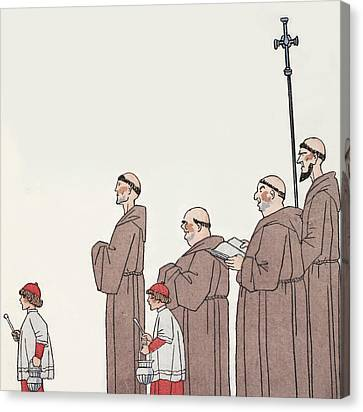 On The Way To Mass Canvas Print by Georges Barbier