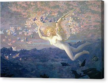 On The Wings Of The Morning Canvas Print by Edward Robert Hughes