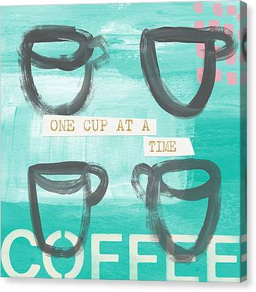 One Cup At A Time In Blue- Art By Linda Woods Canvas Print by Linda Woods