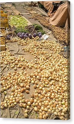 Onions On Display At A Farmer's Market In Spain Canvas Print by Patricia Hofmeester