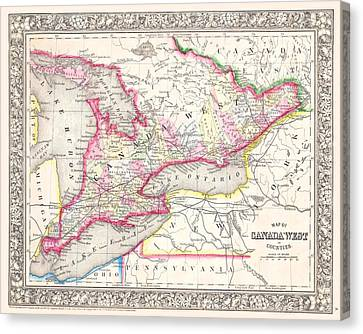 Ontario Canada 1864 Map Canvas Print by Movie Poster Prints