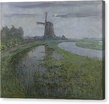 Oostzijdse Mill Along The River Gein By Moonlight  Canvas Print by Piet Mondrian