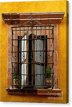 Open Window In Ochre Canvas Print by Mexicolors Art Photography