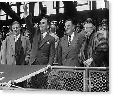 Opening Ceremonies At Dodger Pittsburgh Game At Ebbets Field Canvas Print by Barney Stein