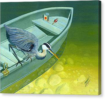 Opportunity-the Great Blue Heron Canvas Print by Gary Giacomelli