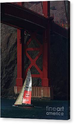 Oracle Racing Team Usa 76 America's Cup Sailboat Under The Sf Golden Gate Bridge - 7d19084 Canvas Print by Wingsdomain Art and Photography