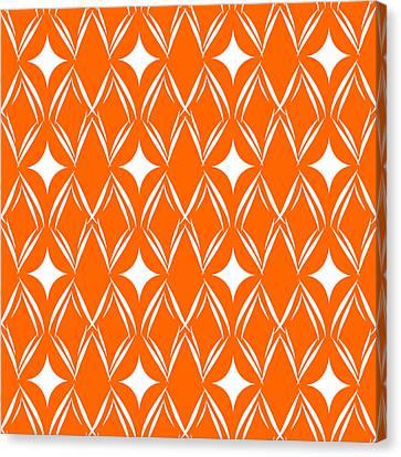 Orange And White Diamonds Canvas Print by Linda Woods