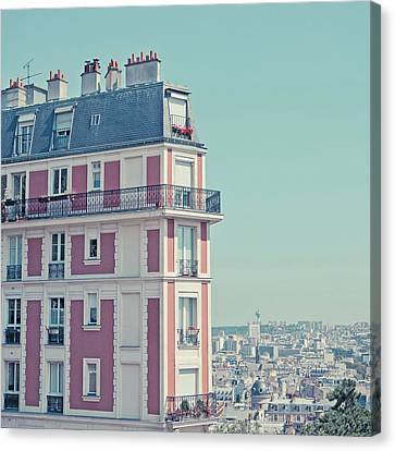 Orange Apartment Building With View Over Paris Canvas Print by Cindy Prins