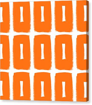 Orange Boxes- Art By Linda Woods Canvas Print by Linda Woods