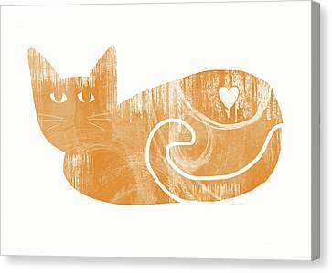 Orange Cat- Art By Linda Woods Canvas Print by Linda Woods