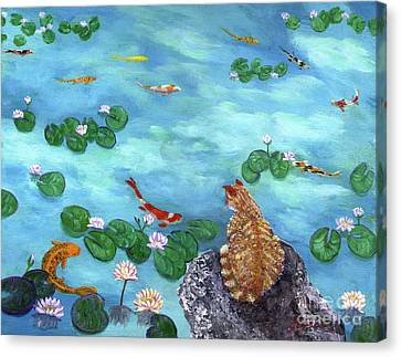 Orange Cat At Koi Pond Canvas Print by Laura Iverson