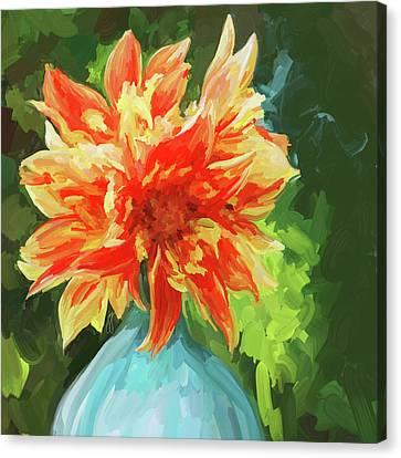 Orange Dahlia - Square Canvas Print by Jai Johnson