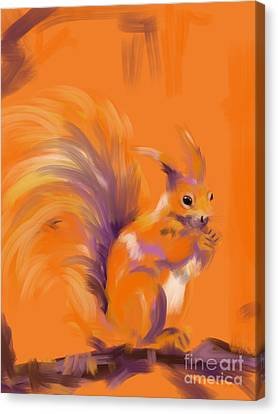 Orange Forest Squirrel Canvas Print by Go Van Kampen