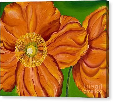 Orange Poppies Canvas Print by Sweta Prasad