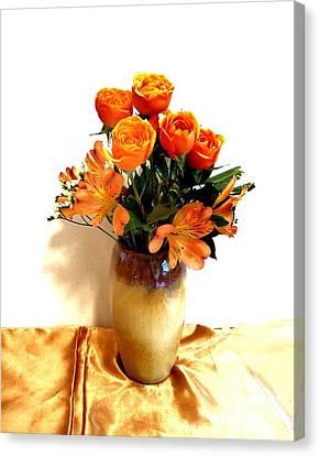 Orange Rose Bouquet Canvas Print by Marsha Heiken