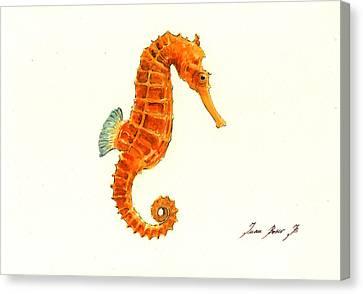 Orange Seahorse Canvas Print by Juan Bosco