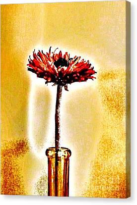 Orange Wooden Flower Canvas Print by Marsha Heiken