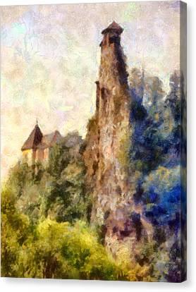 Orava Castle - Rear Side Canvas Print by Peter Kupcik