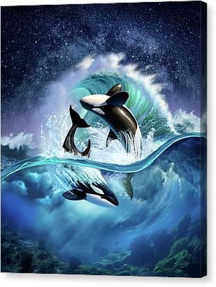 Orca Wave Canvas Print by Jerry LoFaro
