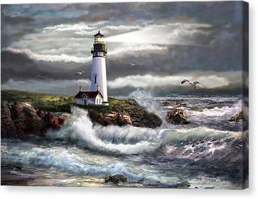 Oregon Lighthouse Beam Of Hope Canvas Print by Regina Femrite