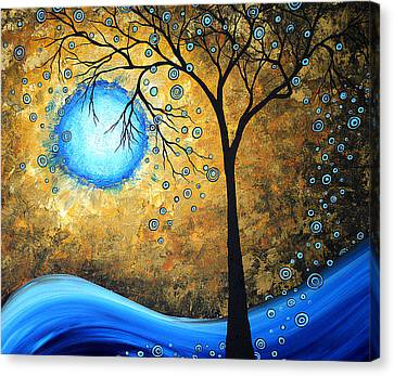Orginal Abstract Landscape Painting Blue Fire By Madart Canvas Print by Megan Duncanson